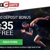 FXGiants Review – 35$ Forex No Deposit Bonus plus 100% Forex Deposit Bonus